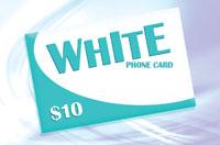 White Phone Card $10 - International Calling Cards