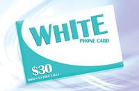 White Phone Card $30 - International Calling Cards